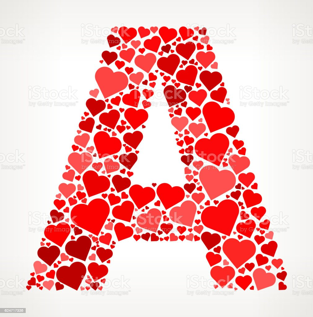 Letter A Icon With Red Hearts Love Pattern Stock Vector Art & More ...