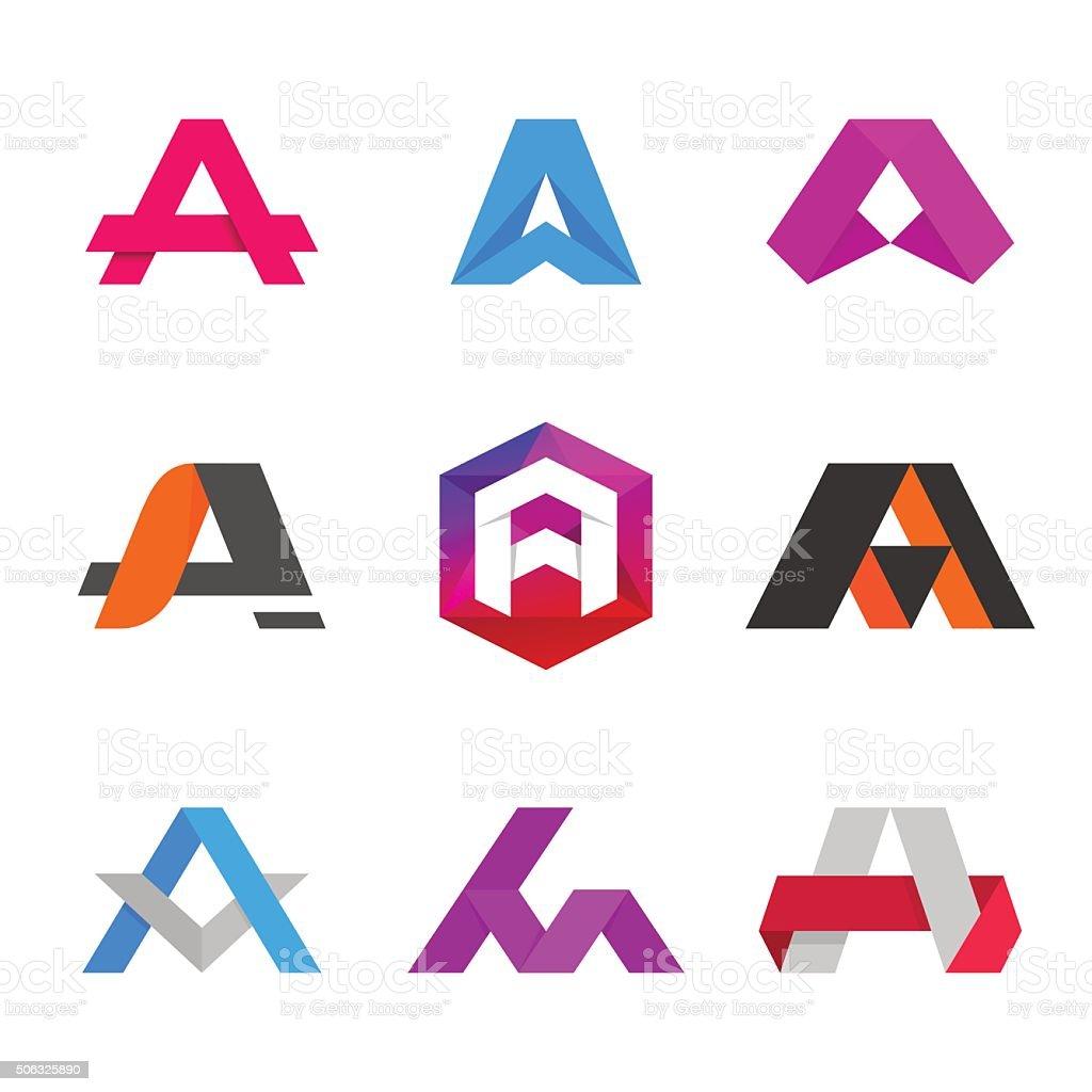Letter A icons. Design template elements. vektör sanat illüstrasyonu