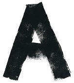 Letter A in vector. First letter of alphabet. Hand painted graphic element made by paint roller and thick black acrylic paint.\nAmazing and original design. Zoom to see the details.\nVECTOR FILE - enlarge without lost the quality!\nLetter isolated on white paper background.