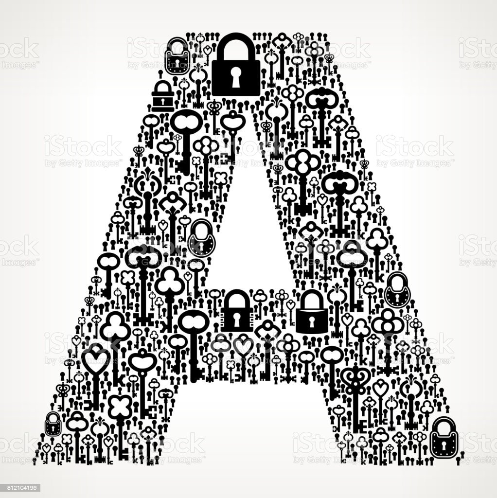Letter A Key And Lock Antique Black White Graphic Stock Vector Art
