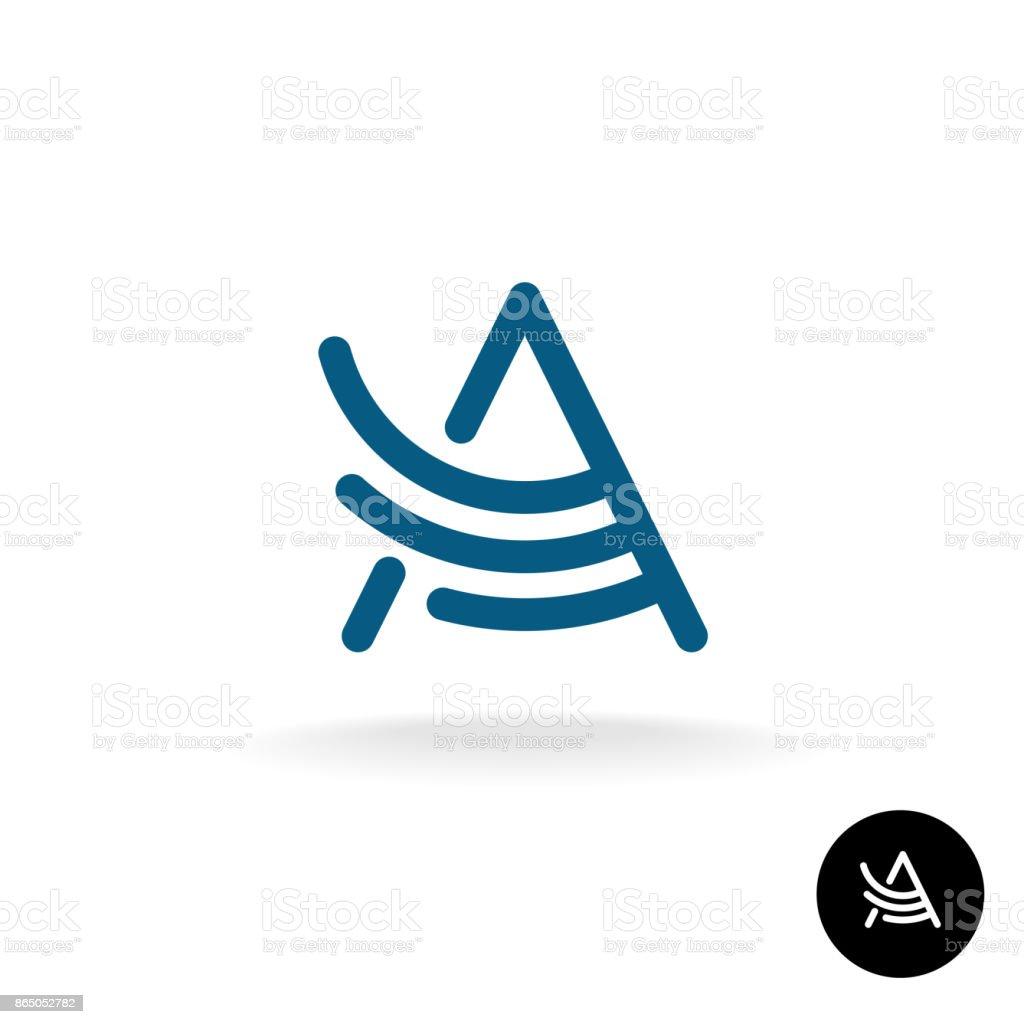 Letter A linear wing symbol vector art illustration