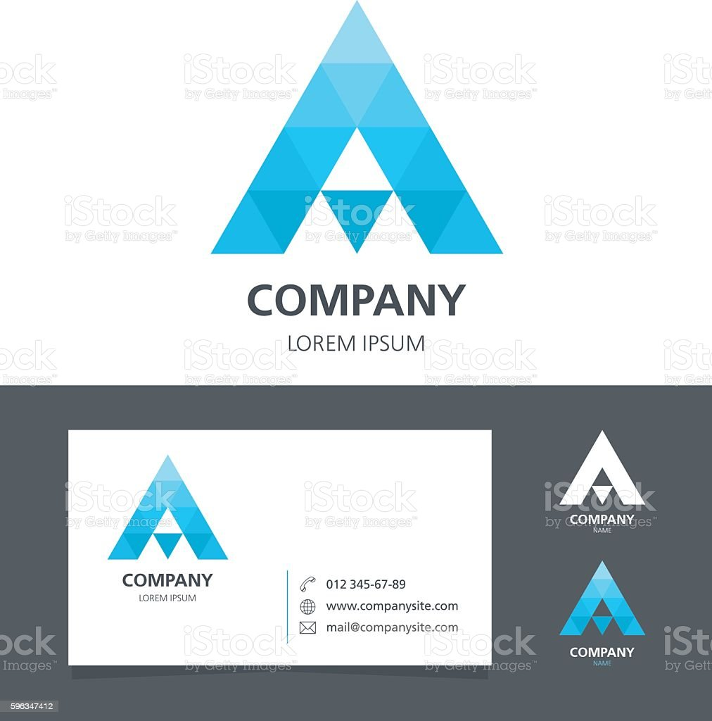 Letter A - Logo Design Element with Business Card - illustration royalty-free letter a logo design element with business card illustration stock vector art & more images of abstract