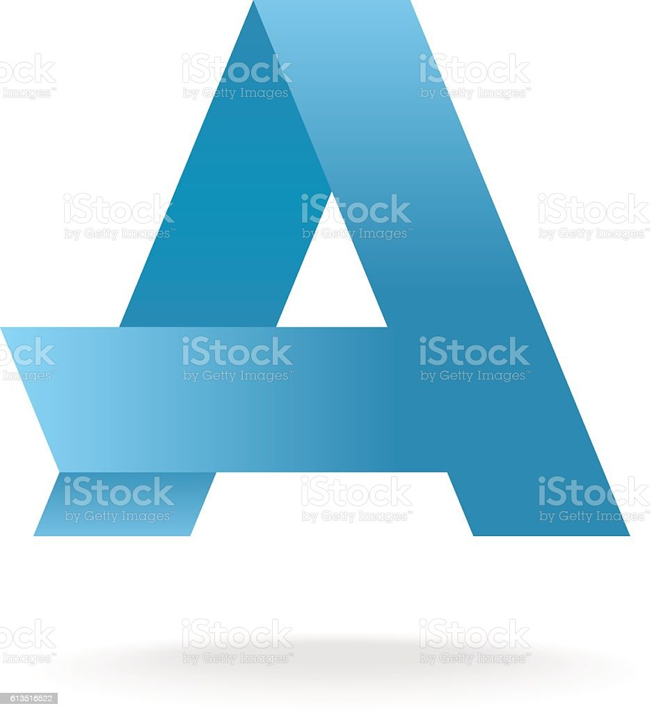 Letter A Logo Template Blue Straight Origami Ribbons Stock Vector