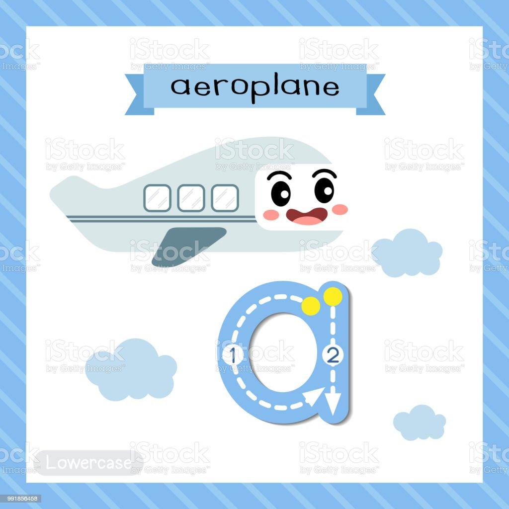 Buchstabe A Kleinbuchstaben Ablaufverfolgung Flugzeug Stock Vektor ...