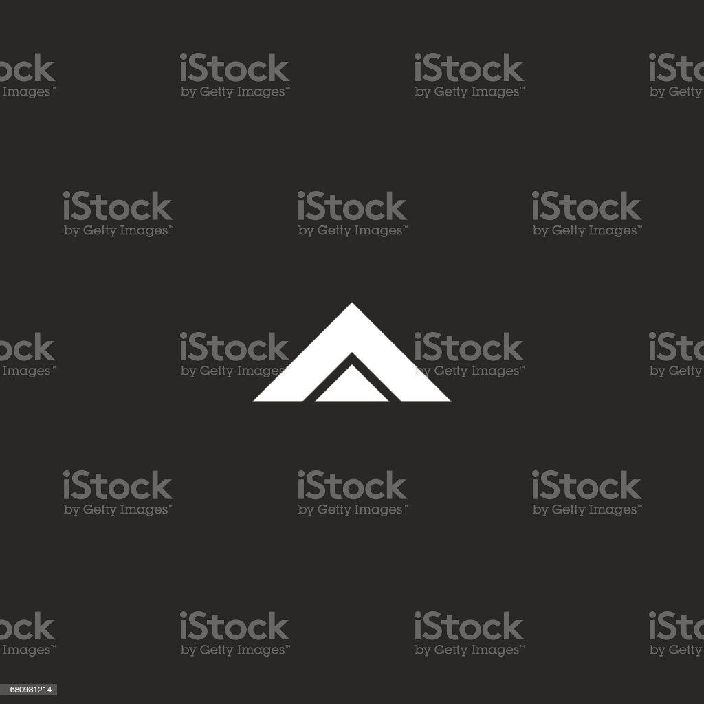 Harf A mockup, siyah beyaz iki üçgen geometrik şekil, tasarım öğesi kartvizit amblemi kimlik, delta simgesi vektör sanat illüstrasyonu