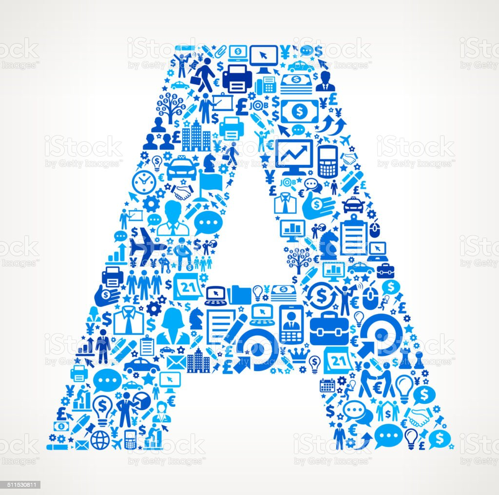 Letter A on Business Icon Pattern