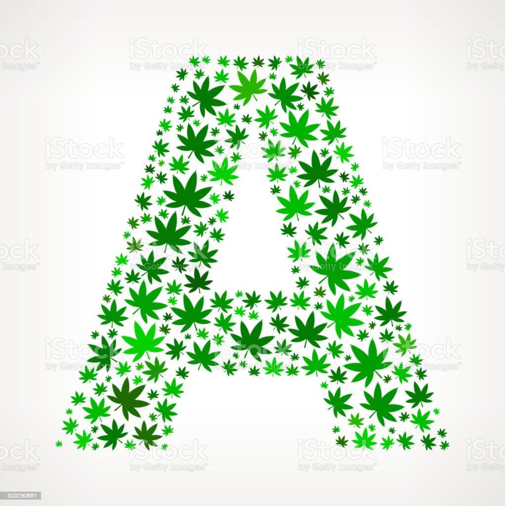 Extrêmement Lettre A Sur Cannabis Motif Dart Vectorielles Libres De Droits  ME56