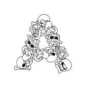 Letter A skeleton Bones Font. Anatomy of an alphabet symbol. dead ABC sign