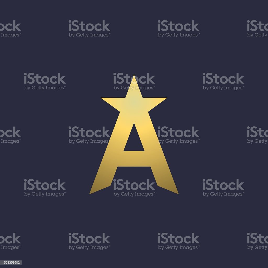 Letter A star icon design template elements vektör sanat illüstrasyonu