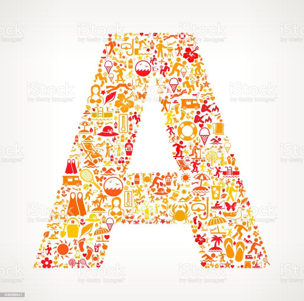 Letter A Summer and Vacation royalty free vector art Pattern royalty-free letter a summer and vacation royalty free vector art pattern stock vector art & more images of alphabet
