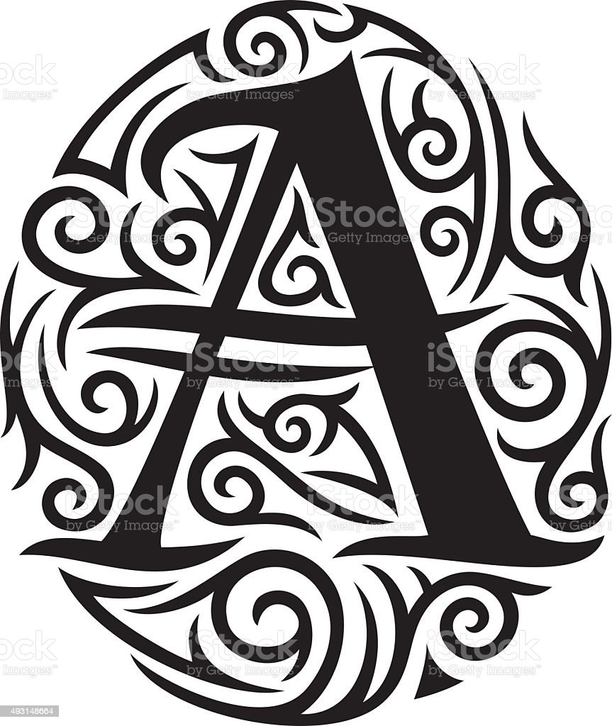 Letter A Tattoo Tribal Design Stock Vector Art More Images Of 2015
