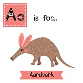 Letter A tracing. Walking Aardvark.