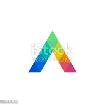 istock Letter A triangle icon with mosaic pattern 1193834655