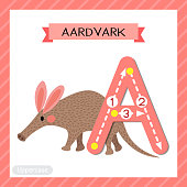 Letter A uppercase tracing. Walking Aardvark