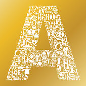 Letter A Wedding and Love Vector Graphic. The main object depicted in this royalty free vector illustration is in the center of the composition and is composed of love and wedding icons. The icons are part of the wedding celebration theme and vary in size. They form a seamless pattern and fill the outlines of the main object. The background has a golden gradient color. Each icon can also be used independently of the icon pattern. Vector icons include such wedding favorites as the bride and groom, wedding ring, love heart shape etc.