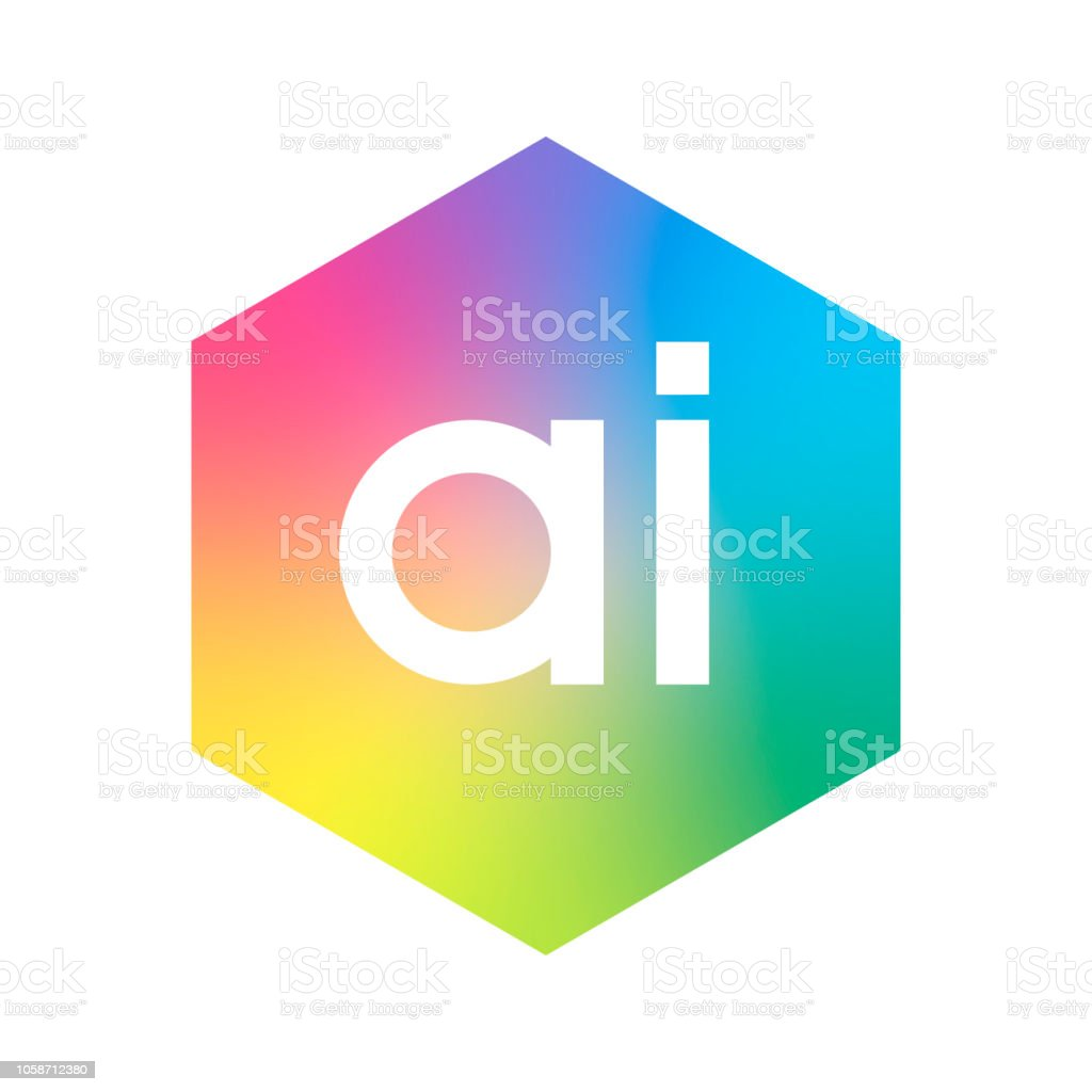 Letter AI logo in hexagon shape and colorful background, letter combination logo design for business and company identity. vector art illustration
