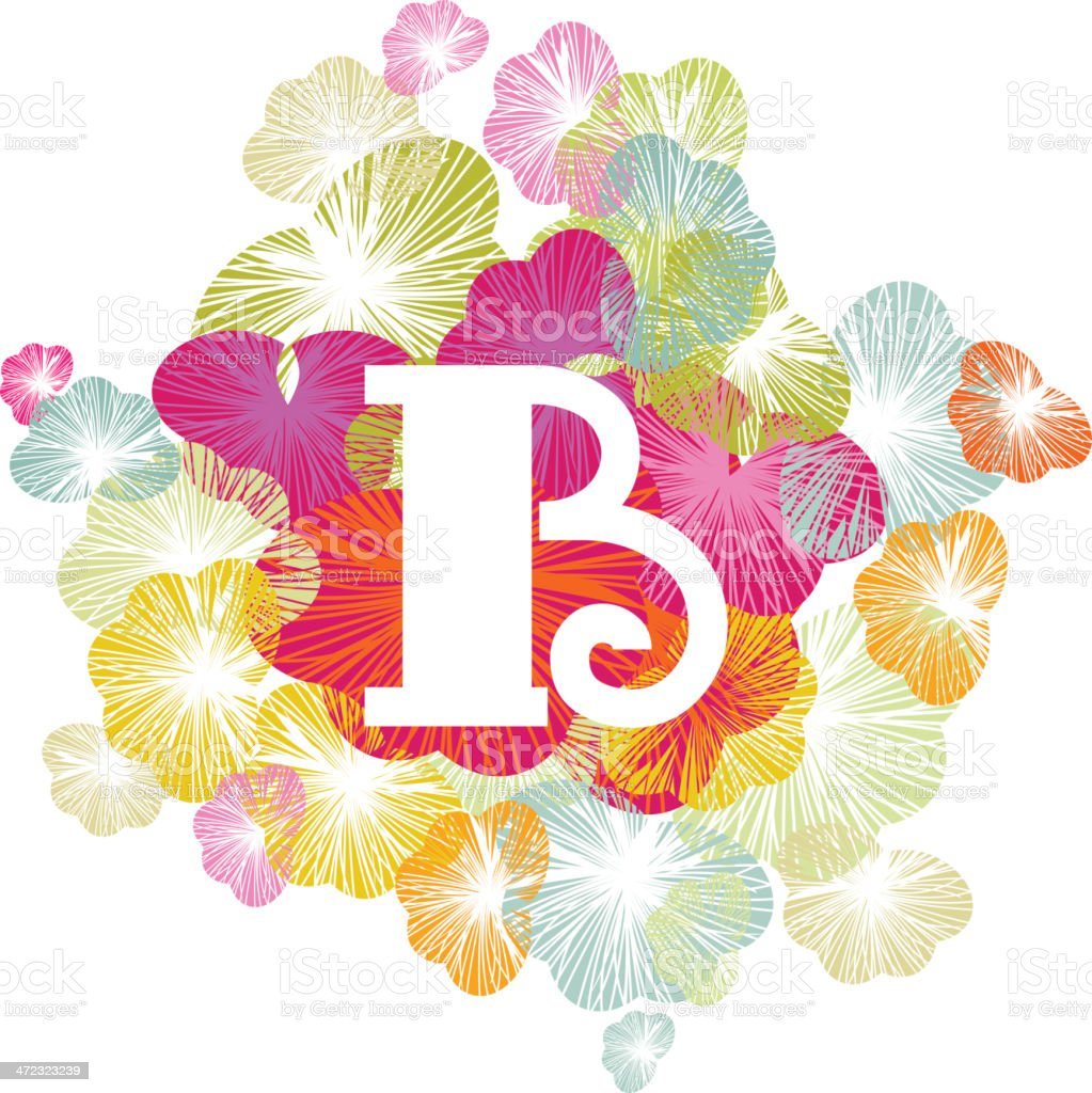 B letter alphabet initial uppercase floral royalty-free stock vector art