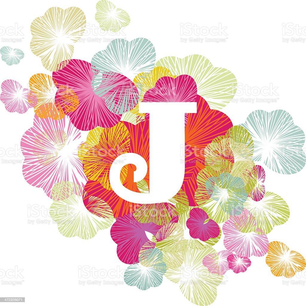 J letter alphabet initial uppercase floral vector art illustration