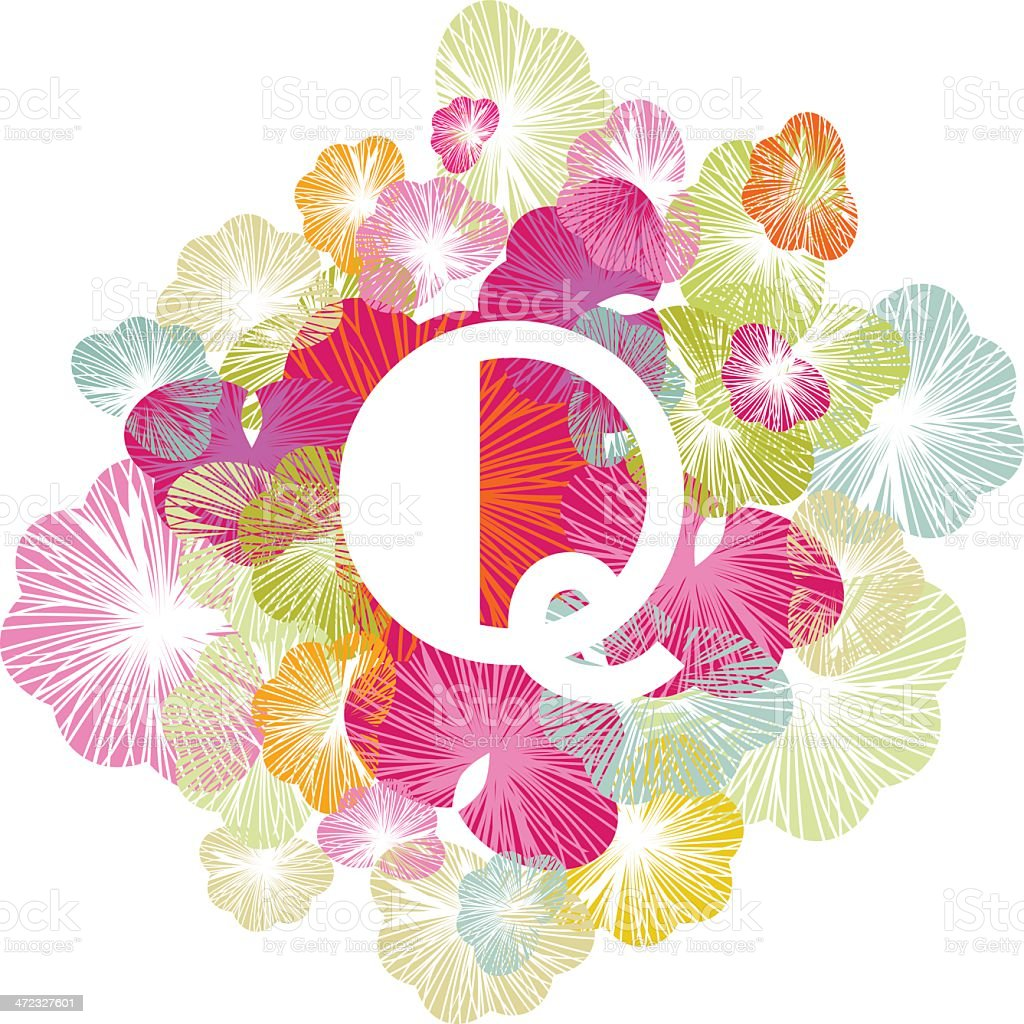 Q letter alphabet initial uppercase floral royalty-free stock vector art