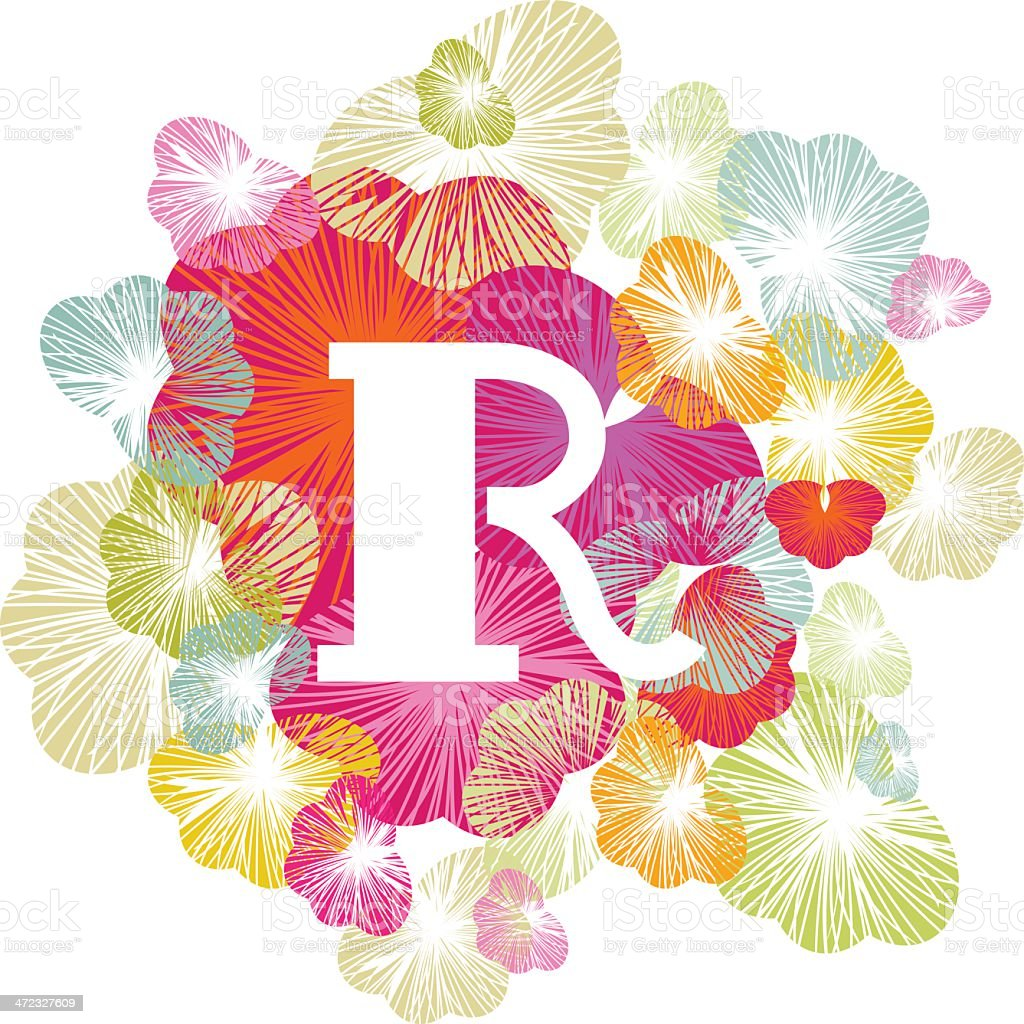 R letter alphabet, initial, uppercase floral royalty-free stock vector art