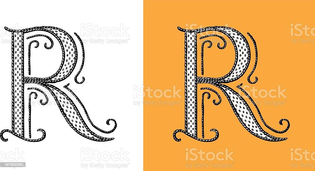 R Letter Alphabet Type Retour Du Retro Lettrine Monogram