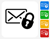 Letter and Lock Icon. This 100% royalty free vector illustration features the main icon pictured in black inside a white square. The alternative color options in blue, green, yellow and red are on the right of the icon and are arranged in a vertical column.