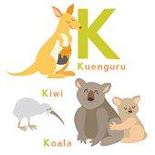 K letter animals set. English alphabet. Vector illustration, isolated on white background