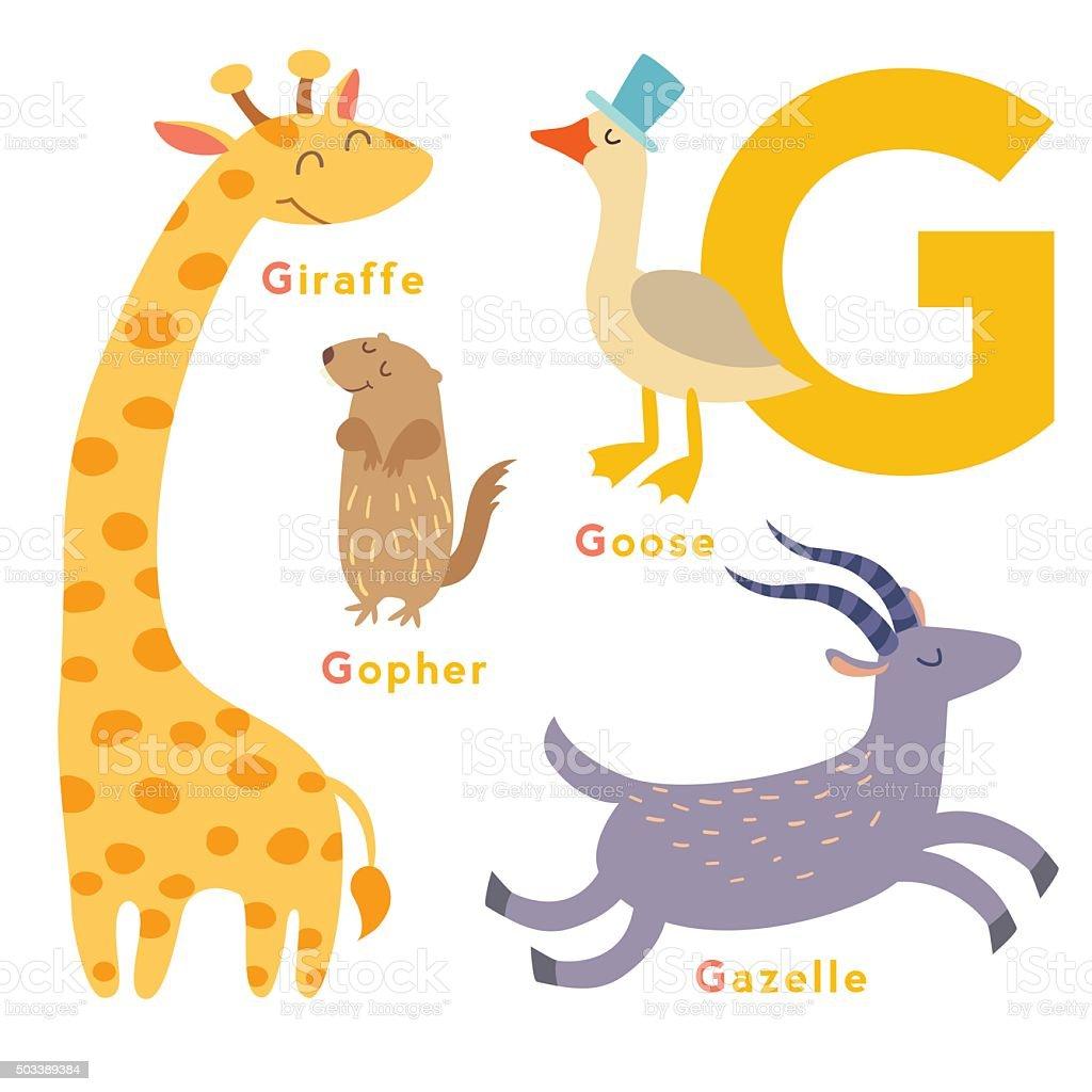 Animal En G : g letter animals set english alphabet vector illustration ~ Melissatoandfro.com Idées de Décoration