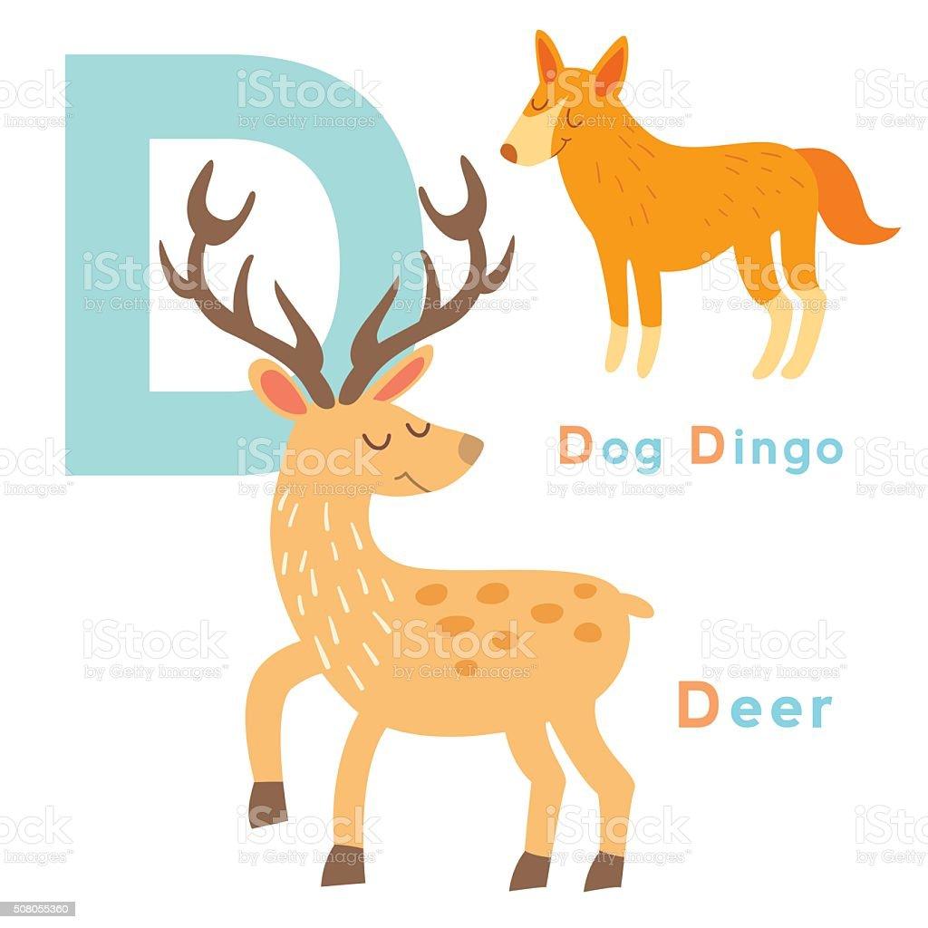 d letter animals set english alphabet vector illustration stock