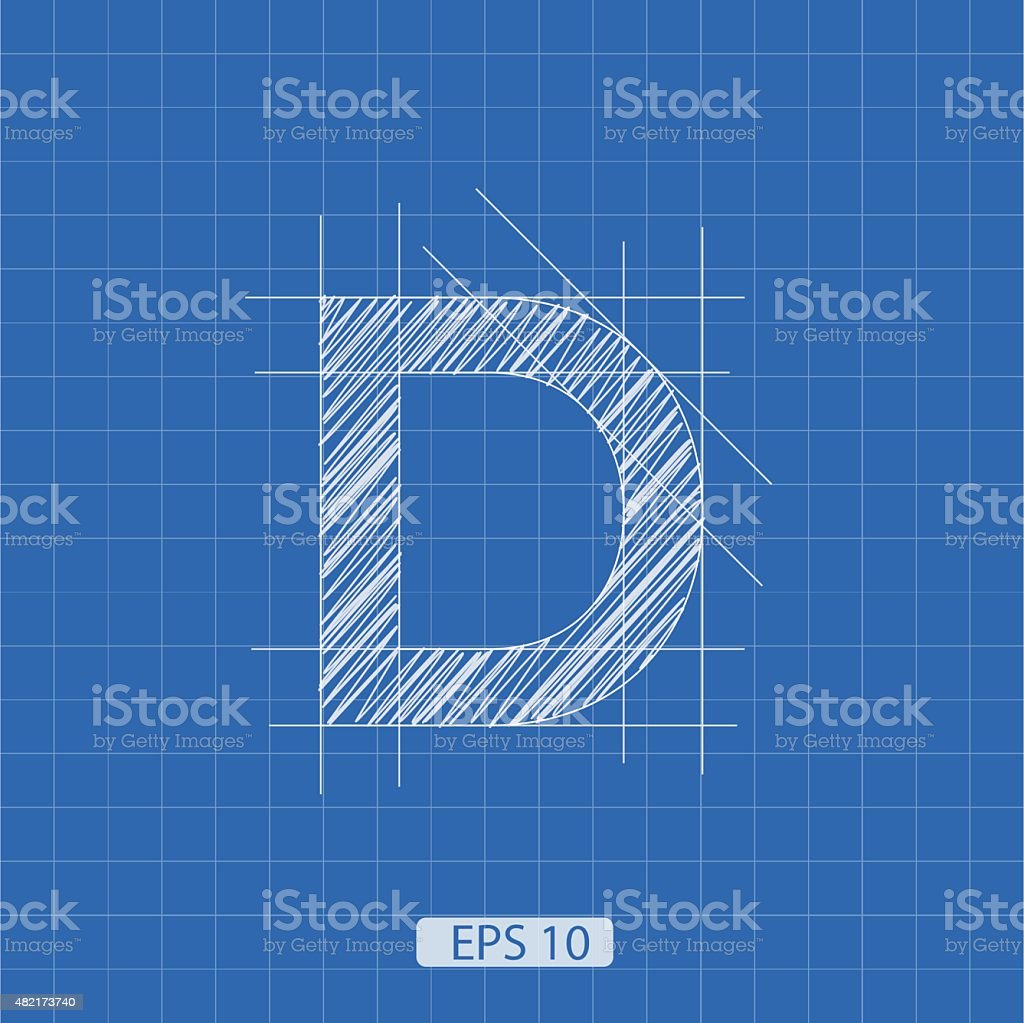 D letter architectural plan vector art illustration