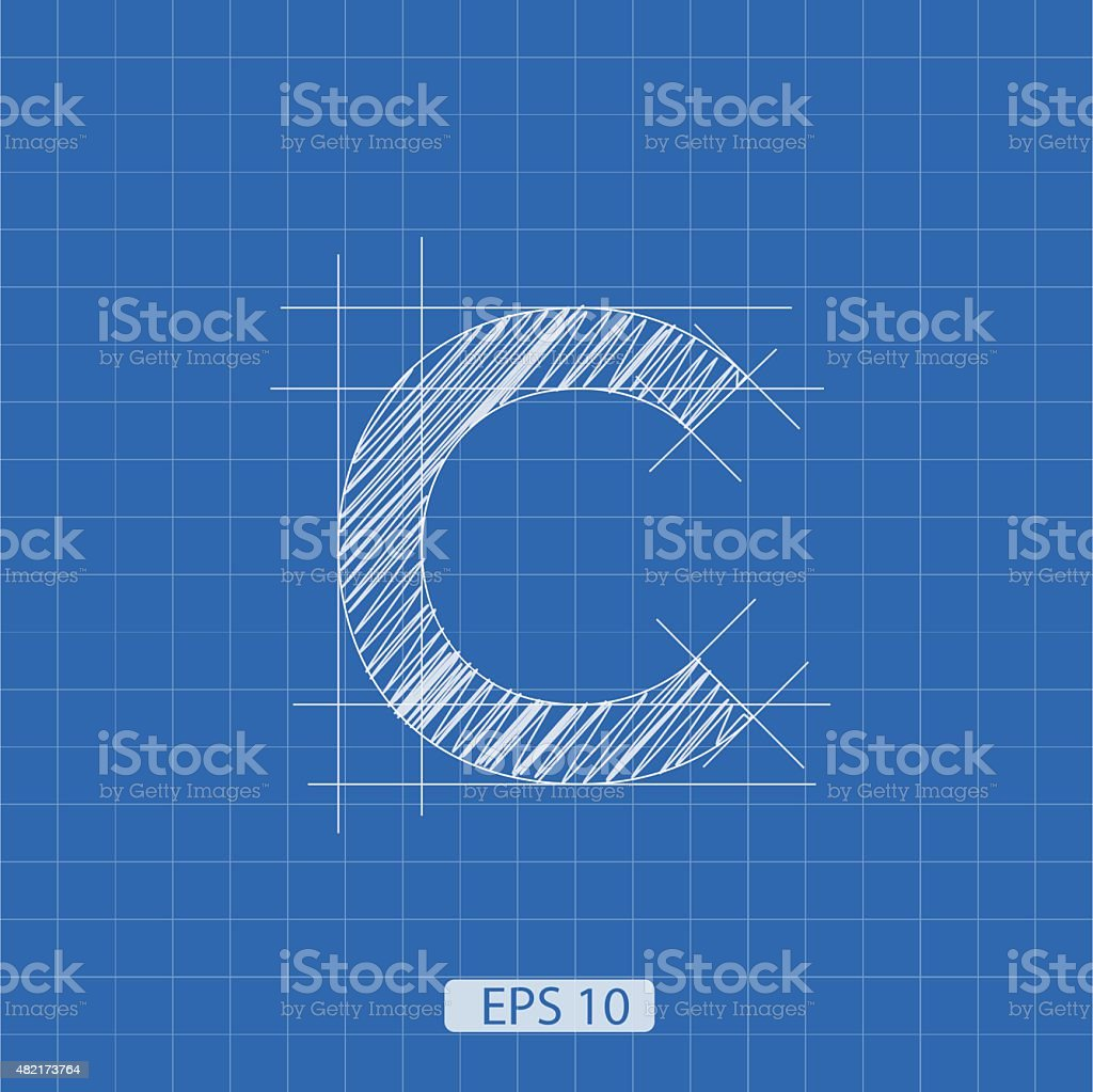 C letter architectural plan vector art illustration