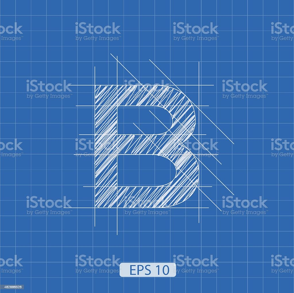 B letter architectural plan vector art illustration