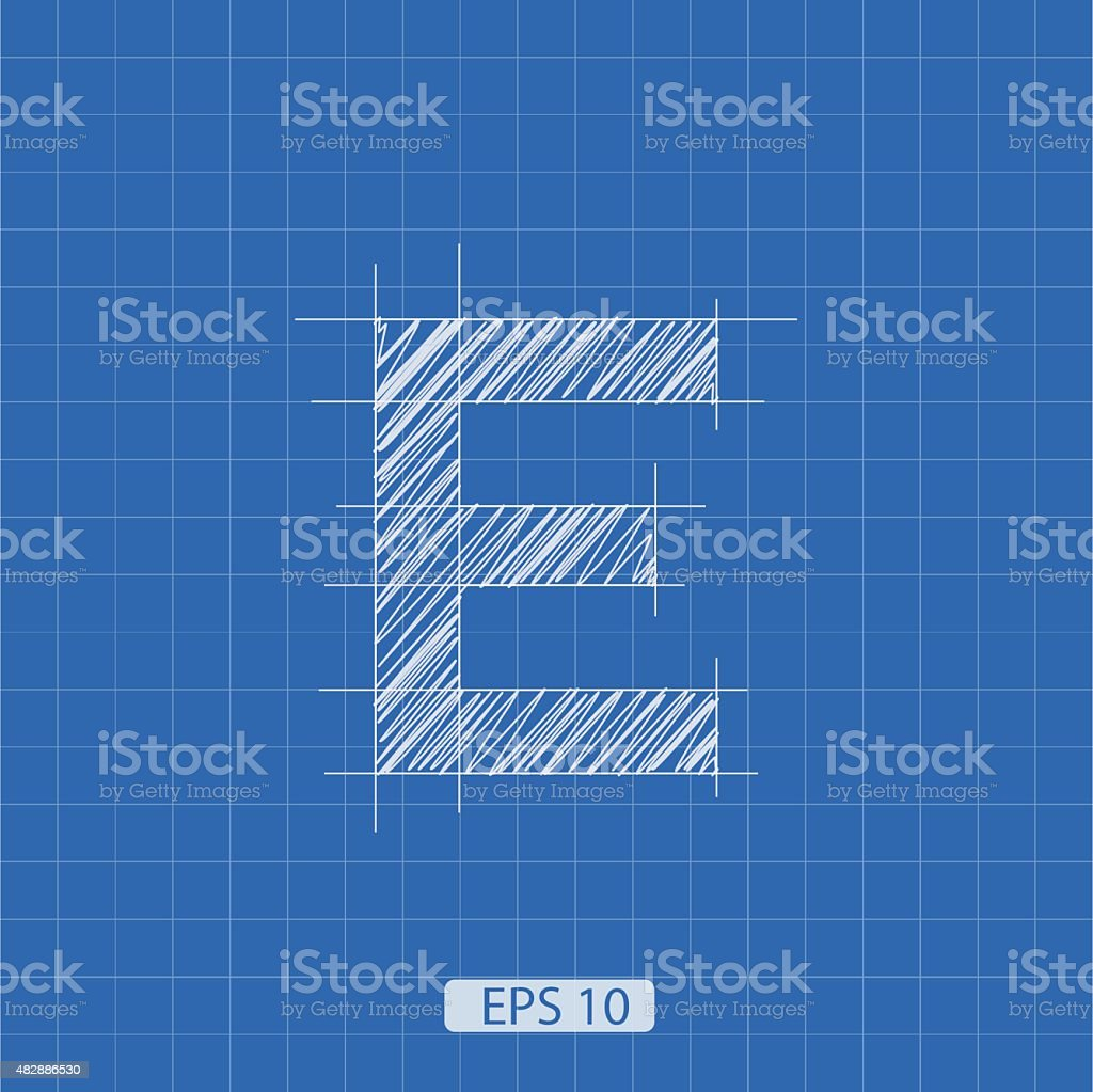 E letter architectural plan vector art illustration
