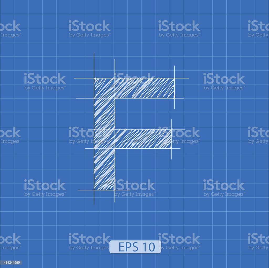 F letter architectural plan vector art illustration