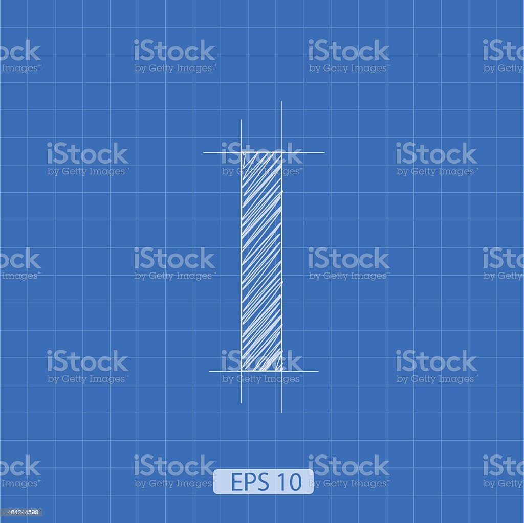 I letter architectural plan vector art illustration