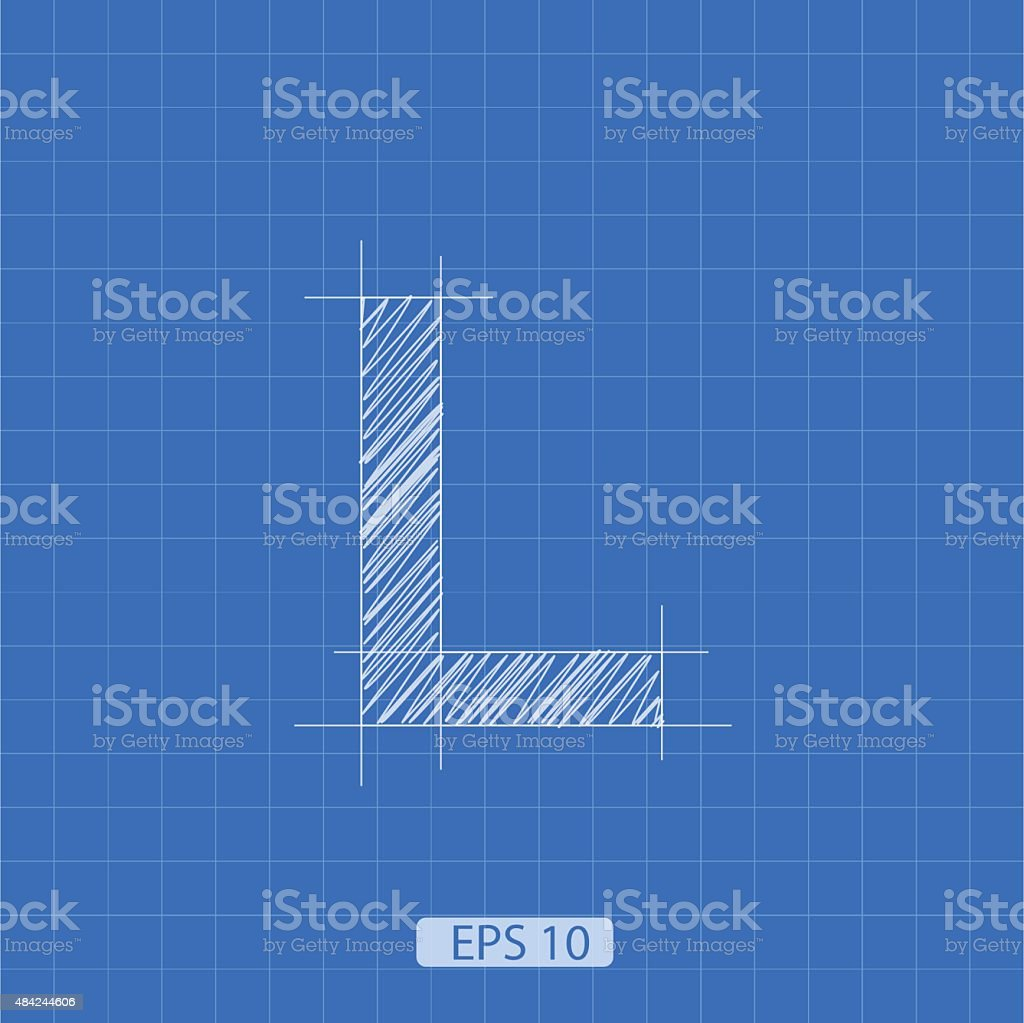 L letter architectural plan vector art illustration
