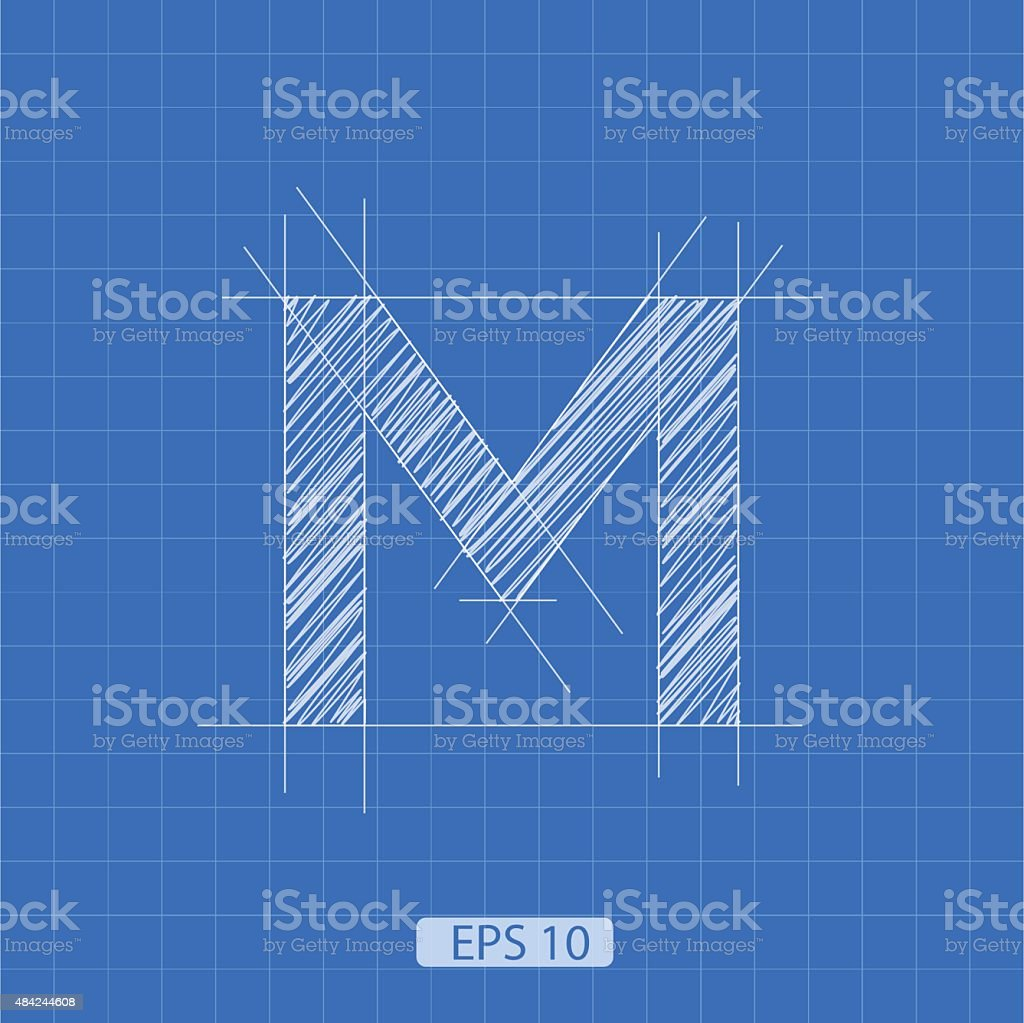M letter architectural plan vector art illustration