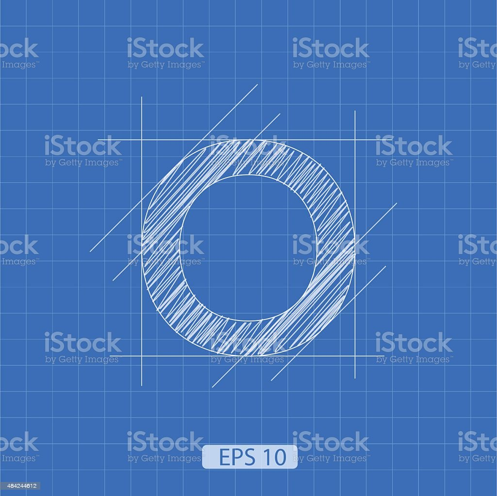 O letter architectural plan vector art illustration