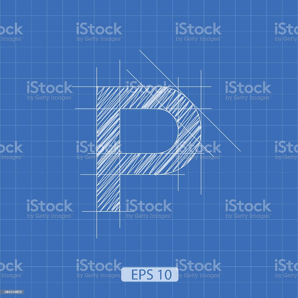 P letter architectural plan vector art illustration