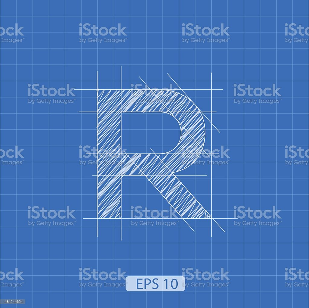 R letter architectural plan vector art illustration