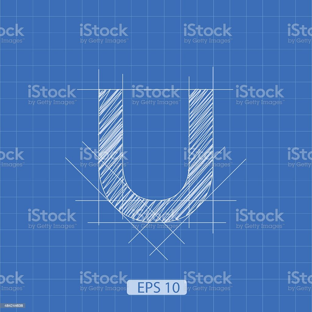 U letter architectural plan vector art illustration