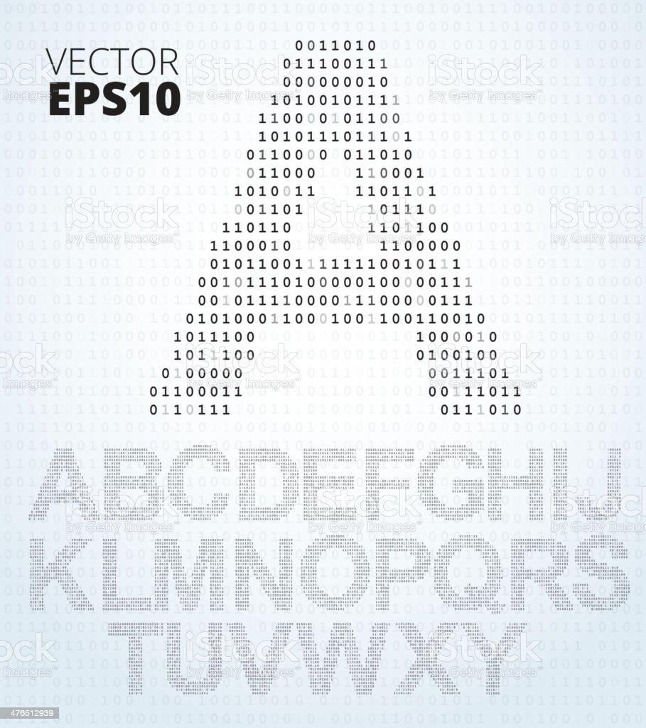 Letter A-Z, alphabet from binary code vector art illustration