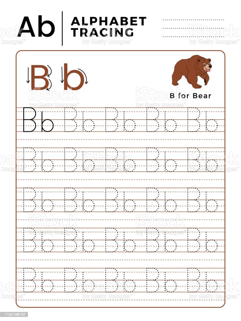 Letter B Alphabet Tracing Book With Example And Funny Bear ...