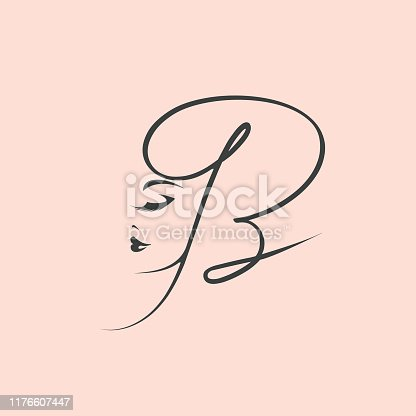 istock Letter B and beautiful woman face.Beauty salon calligraphic logo.Alphabet initial. 1176607447