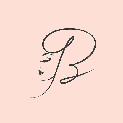 Letter B and beautiful woman face.Beauty salon calligraphic logo.Alphabet initial.