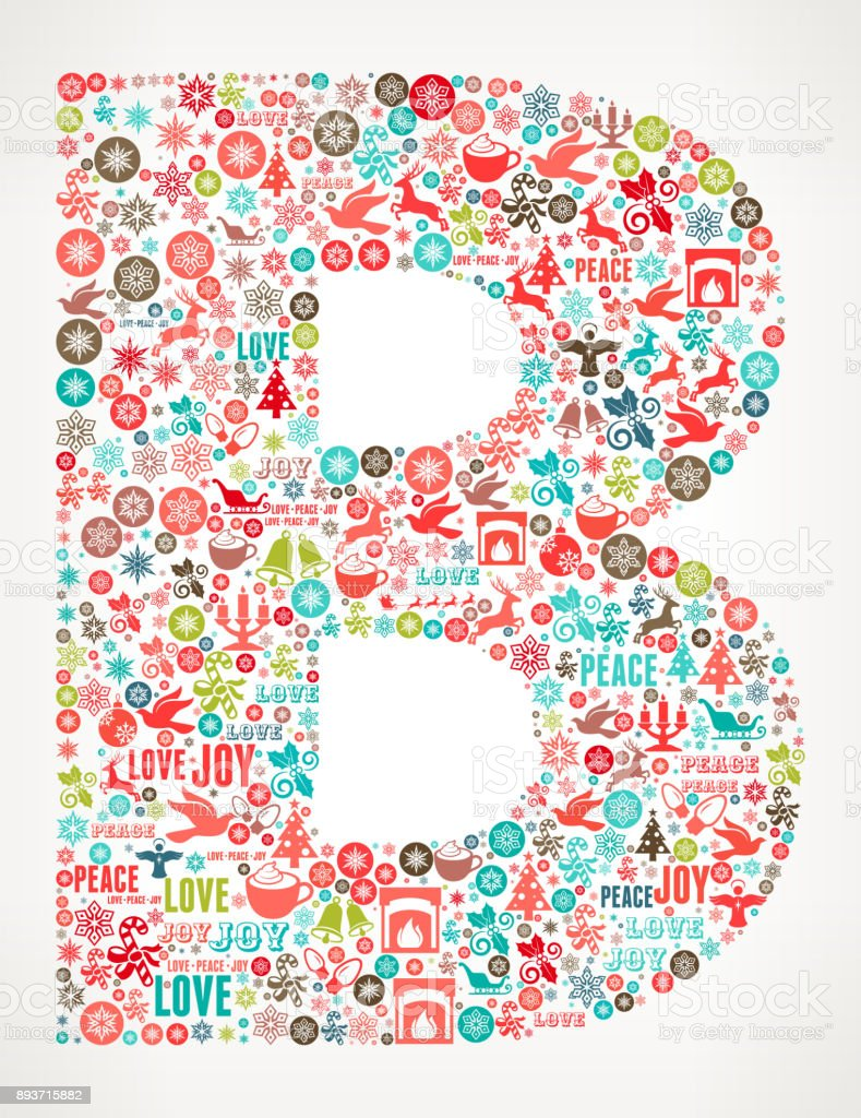 Letter B Chrismas Holiday Celebration Vector Icon Pattern Stock ...