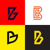 Letter B   collection vector design. Company monogram  type icons set.