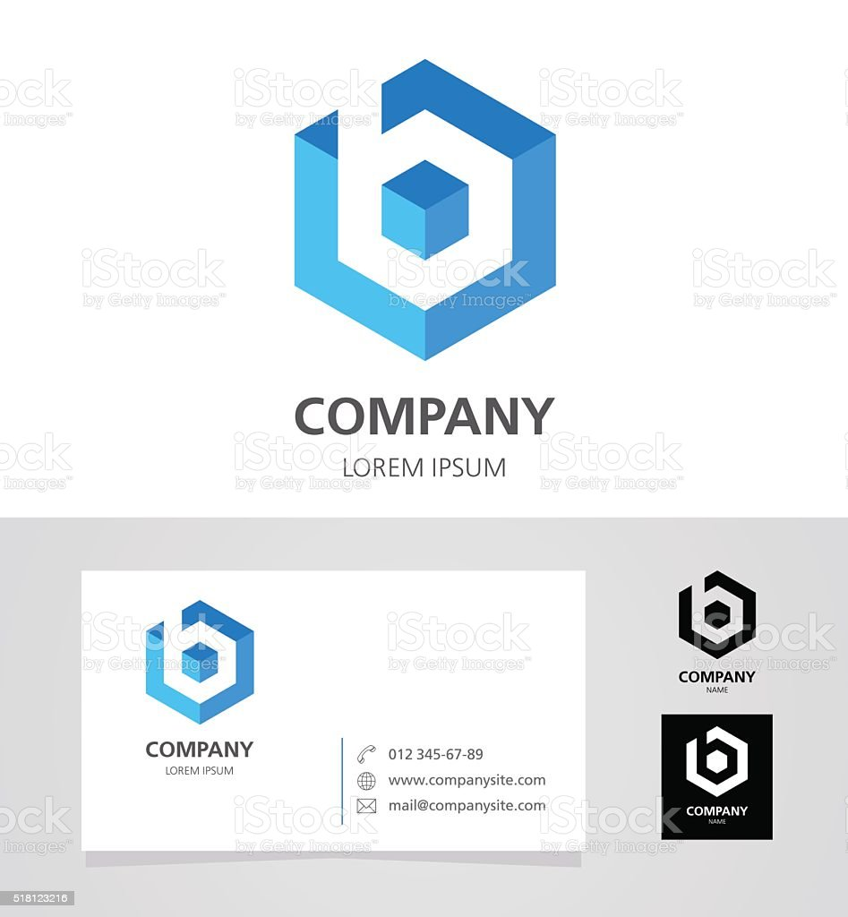 Letter B - Emblem Design Element with Business Card - illustration vektör sanat illüstrasyonu