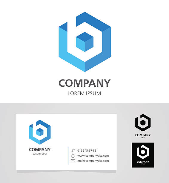 Letter B - Emblem Design Element with Business Card - illustration vektör sanat illüstrasyonu