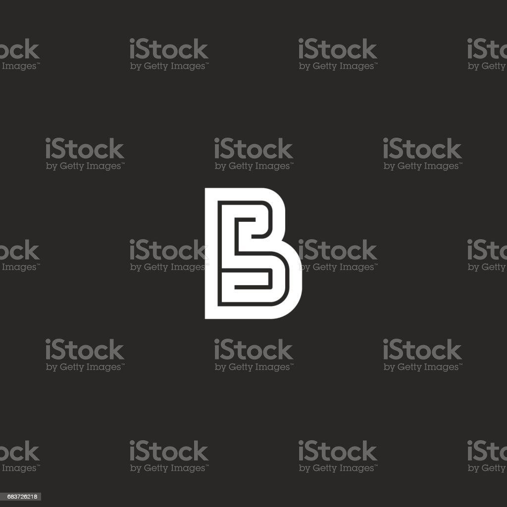 Letter B emblem maze monogram, wedding invitation initials bold line emblem mockup, simple maze geometric shape design element vector art illustration